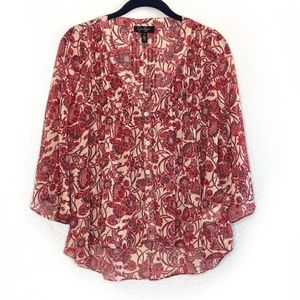 Jessica Simpson Red Floral Chiffon Batwing Top